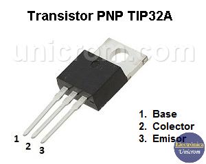 Transistor PNP TIP32A - Distribución de pines