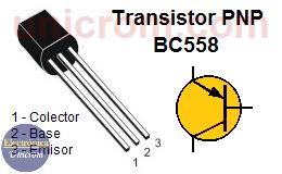 Transistor PNP BC558 - Distribusión de pines (patillas)