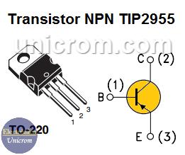 Distribución de pines del transistor PNP TIP2955