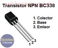 Transistor NPN BC338 - Distribución de pines o patillas