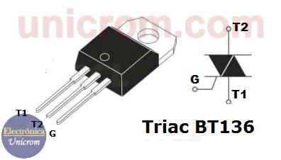 TRIAC BT136 - Distribución de pines