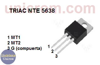 TRIAC NTE 5638 - Distribución de pines o patillas