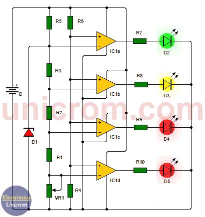 Voltímetro para automóvil (voltaje de la batería)