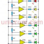 Vúmetro de 8 LEDs con LM324
