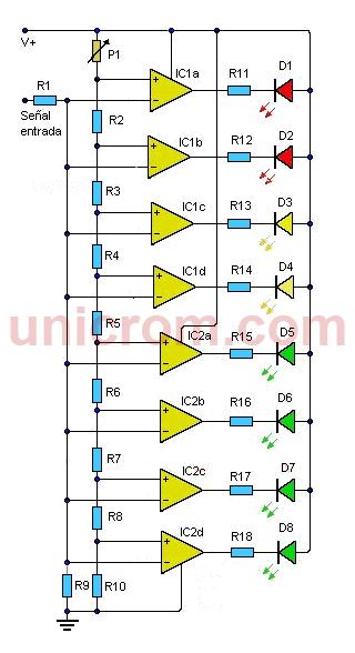 Vúmetro de 8 LEDs con LM324 - Electrónica Unicrom